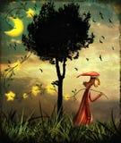 Le garçon rassemblant des étoiles illustration stock