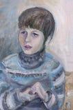 Le garçon regardant des mouvements d'horreur Illustration Libre de Droits
