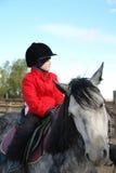 Le garçon s'asseyent sur le cheval Images libres de droits
