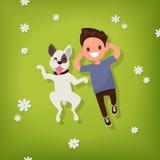 Le garçon se trouve avec le chien sur la pelouse Illustration de vecteur Images libres de droits