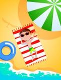 Le garçon sur la plage Photos stock