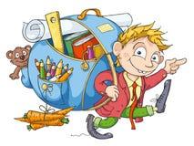 Le garçon va à l'école illustration libre de droits