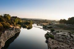 Le gard ou Gardon. River. At Pont du gard Stock Image
