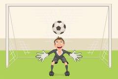 Le gardien de but attrape le ballon de football Penalty dans le football But du football Photos stock