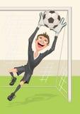 Le gardien de but du football attrape la boule Penalty dans le football Photos libres de droits