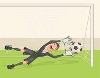 Le gardien de but du football attrape la boule Penalty dans le football Photo stock