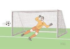 Le gardien de but sautant pour attraper le ballon de football partie de football Jeune champion sportif Couleur douce plate de ve Photographie stock libre de droits