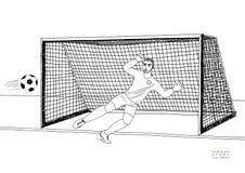 Le gardien de but sautant pour attraper le ballon de football partie de football Jeune champion sportif Illustration plate de vec Photographie stock