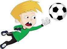 Le gardien de but sautent pour attraper une boule Photo libre de droits