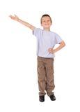 Le garçon affiche la bienvenue de geste Images libres de droits