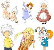 Le garçon de fille badine le style de bande dessinée de clipart de jardin d'enfants  Photo stock