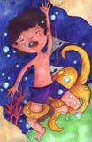 Le garçon est tombé en panne dans la mer avec le poulpe Image stock