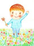 Le garçon fleurit le pastel d'huile peint Image libre de droits