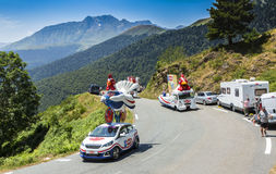 Le Gaulois Caravan in Pyrenees Mountains - Tour de France 2015. Col D'Aspin,France- July 15,2015: Le Gaulois Caravan during the passing of the Publicity Caravan Stock Image