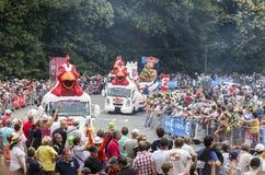 Le Gaulois Caravan - Tour de France 2015. Plumelec, France - 12 July, 2015: Le Gaulois caravan during the passing of the Publicity Caravan before the Team Time stock images