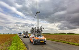 Row of Technical Vehicles - Paris-Tours 2017 royalty free stock photos