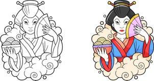 Le geisha conserve un bol de nouilles Photographie stock libre de droits