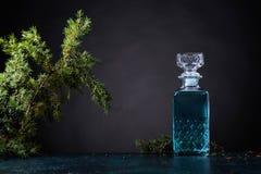 Le genièvre bleu dans le décanteur en cristal et le genévrier s'embranchent avec des baies images libres de droits