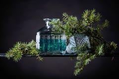 Le genièvre bleu dans le décanteur en cristal et le genévrier s'embranchent avec des baies photographie stock libre de droits