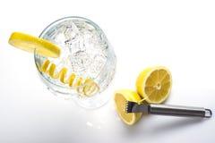 Le genièvre et le tonique classiques avec un citron tordent images stock
