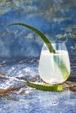 Le genièvre et le tonique en bon état de scintillement de concombre sifflent avec l'aloès Vera sur la table de marbre Copiez l'es photo libre de droits
