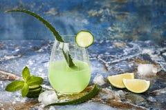 Le genièvre et le tonique en bon état de scintillement de concombre sifflent avec l'aloès Vera sur la table de marbre Copiez l'es photographie stock