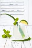 Le genièvre et le tonique en bon état de scintillement de concombre sifflent avec l'aloès Vera sur la table rustique Copiez l'esp images stock