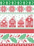 Le gente scandinave e norvegesi di Natale hanno ispirato il modello senza cuciture festivo dell'inverno e di autunno in punto tra Fotografia Stock Libera da Diritti