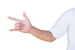 Le geste de la main de signe d'amour avec le chemin de coupure Images stock