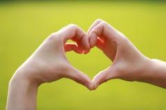 Le geste de signification d'amour font un geste avec l'herbe de pelouse de vert de main de femme comme fond Image stock