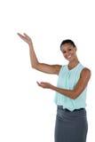 Le gester för affärskvinnadanandehand fotografering för bildbyråer