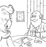 Le gestionnaire parle au visiteur Photographie stock libre de droits