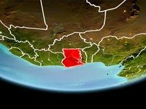 Le Ghana en rouge le soir Photographie stock libre de droits