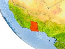 Le Ghana sur le globe Photos stock