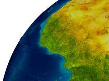 Le Ghana sur le globe Photographie stock libre de droits