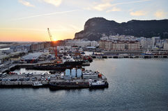 Le Gibraltar accouple le lever de soleil Photos stock