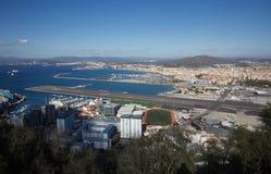 Le Gibraltar, points d'intérêt pour le secteur d'outre-mer britannique sur la broche du sud de la péninsule ibérienne, Image libre de droits