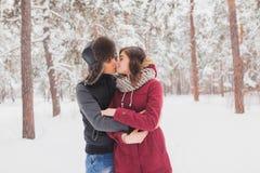 Le giovani coppie felici in inverno parcheggiano avere divertimento Famiglia all'aperto amore, giorno di S. Valentino Immagini Stock