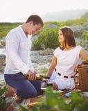 Le giovani coppie felici nell'amore all'estate fanno un picnic Fotografia Stock Libera da Diritti
