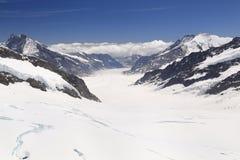Le glacier d'Aletsch, le plus grand glacier des alpes et le patrimoine mondial de l'UNESCO ont photographié du Jungfraujoch, S image libre de droits