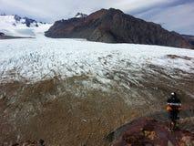 Le glacier du circuit de Huemul photo libre de droits