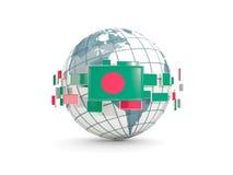 Le globe avec le drapeau du Bangladesh a isolé sur le blanc Photo libre de droits