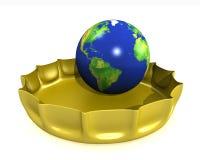 Le globe dans un bottlecap Photo stock