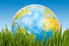 Le globe dans une herbe verte. Photo libre de droits