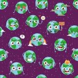 Le globe de bande dessinée avec des icônes de Web d'émotion verdissent la planète heureuse de la terre d'expression et d'écologie illustration de vecteur