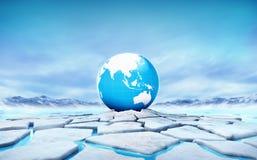 Le globe de la terre de l'Asie au milieu de la banquise a fendu le trou Photographie stock