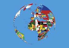 Le globe l'Europe du monde, les drapeaux de l'Afrique et de l'Asie tracent Photos libres de droits