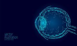 Le globe oculaire humain 3D rendent bas poly Affiche médicale de la future de médecine science bleue polygonale de technologie Op Image stock