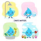 Le gocce di acqua del fumetto conservano i risparmi acqua il mondo Fotografie Stock Libere da Diritti