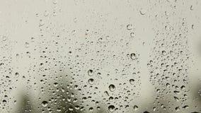 Le gocce di pioggia cadono su un vetro di finestra un giorno nuvoloso Il maltempo fuori Umore triste e smussato Depressione di au stock footage